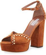 Tabitha Simmons Julieta Studded Platform Suede Sandal, Camel
