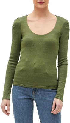 Michael Stars Barbara Scoop Neck Ruched Sleeve T-Shirt