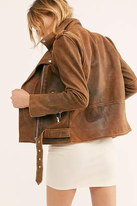 Free People Distressed Easy Rider Jacket by Understated Leather at Free People, Brown Leather, M