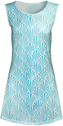 Lily Women's Tunics AQU - Aqua & White Fans Sleeveless A-Line Tunic - Women & Plus