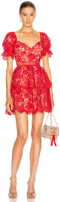Self-Portrait Flower Lace Mini Dress in Fuchsia | FWRD
