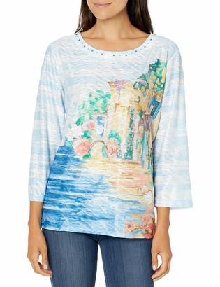 Alfred Dunner Women's Scenic Print 3/4 Length Knit TOP