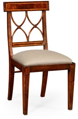 Jonathan Charles Fine Furniture Curved Dining Chair Upholstery Color: Tan, Frame Color: Antique Mahogany