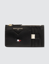 MAISON KITSUNÉ Tricolor Zipped Leather Coin Purse
