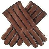 Black Mens Two-Tone Brown Cashmere Lined Leather Gloves