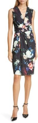 ADAM by Adam Lippes Drape Waist Floral Print Faux Wrap Sheath Dress