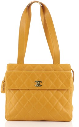 Chanel Front Pocket Tote Quilted Caviar Medium