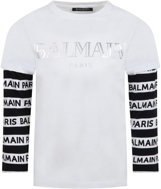 Balmain White T-shirt For Kids With Logo