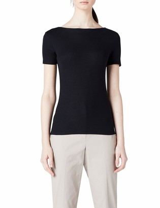 Meraki Amazon Brand Women's Slim Fit Cotton Blend Rib Boat Neck T-Shirt