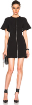 David Koma Front Zip Flounce Sleeve Mini Dress