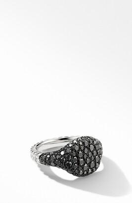 David Yurman Mini Chevron Pinky Ring in 18K White Gold with Pave Black Diamonds