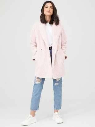 Very Double Breasted Relaxed Coat - Pink Marl