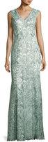 Tadashi Shoji Sleeveless Metallic Floral Lace Gown, Mink Gray