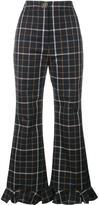 Awake checked ruffle hem trousers - women - Cotton/Polyester - 38