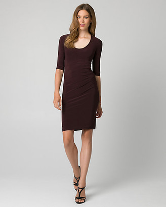 Le Château Knit Scoop Neck Pleated Shift Dress
