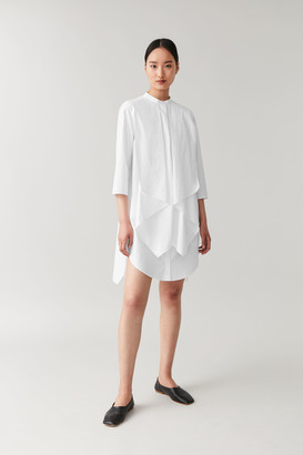 Cos Cotton Shirt Dress With Draped Layers
