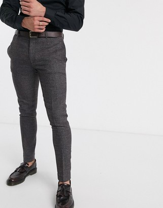 ASOS DESIGN wedding super skinny suit trousers in in charcoal tweed texture