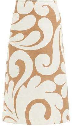 Marni Arabesque Swirl-print Cotton-blend Skirt - Beige Multi