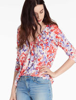 Lucky Brand Printed Pintuck Top