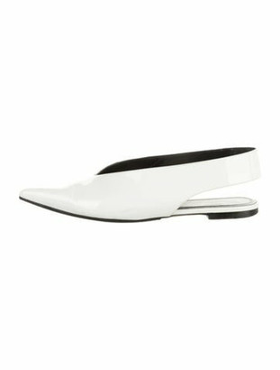 Celine V-Neck Patent Leather Slingback Flats White