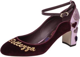 Dolce & Gabbana Burgundy Velvet L' Amore Block Heel Pumps Size 38