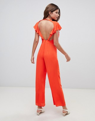 ASOS DESIGN Jumpsuit with Flutter Open Back