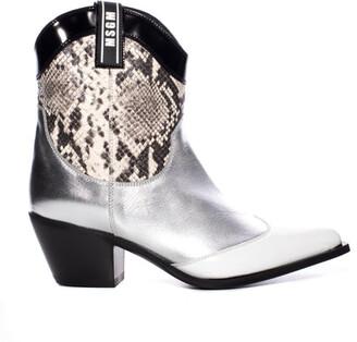 MSGM Metallic Snake Cowboy Boot