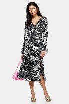 Topshop Womens Petite Black And White Zebra Ruched Sleeve Midi Dress - Monochrome
