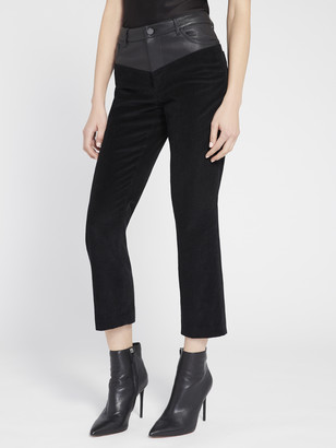 Alice + Olivia Jacob Leather Combo Flare Pant