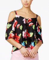 XOXO Juniors' Printed Cold-Shoulder Tie-Front Top