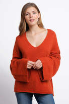 French Connection V-Neck Bell Sleeve Pullover