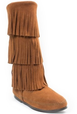Minnetonka 3-Layer Fringe Narrow Boot Women's Shoes