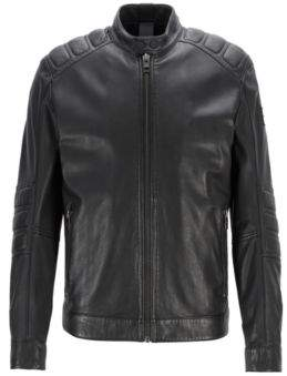 Leather biker jacket with quilted panels