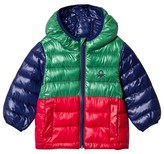 Benetton Green Colour Block Rain Defender Puffer Coat