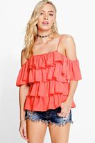 Boohoo Ellie Ruffle Strappy Cold Shoulder