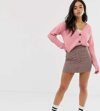 Wild Honey chunky knit cardigan in cable-Pink