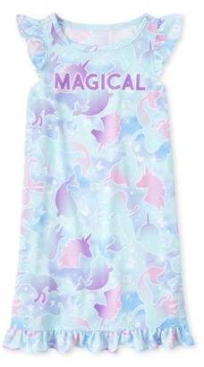 The Children's Place The Childrens Place Cap Sleeve 'Magical' Tie-Dye Mermaid Pajama Nightgown (Big Girls)