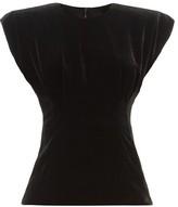 Dolce & Gabbana Padded-shoulder Velvet Top - Womens - Black