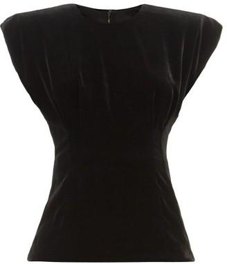 Dolce & Gabbana Padded-shoulder Velvet Top - Black