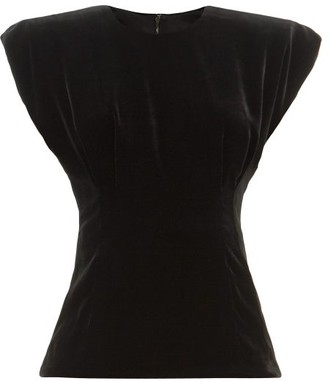 Dolce & Gabbana Padded-shoulder Velvet Top - Womens - Black