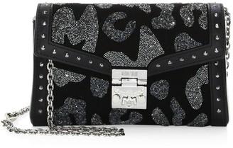 MCM Small Millie Leopard Crystal Leather Crossbody Bag