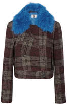 Topshop Cropped Shearling-trimmed Plaid Bouclé-tweed Jacket - Burgundy