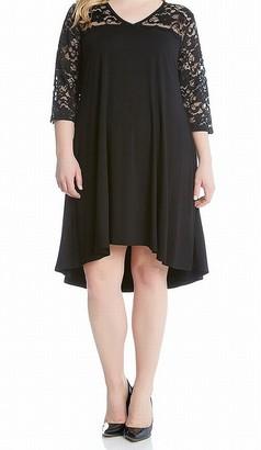Karen Kane Women's Plus Size V-Neck Lace Yoke Swing Dress
