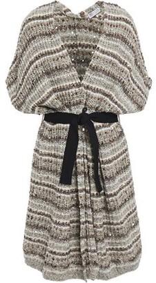 Brunello Cucinelli Belted Sequin-embellished Intarsia-knit Cardigan