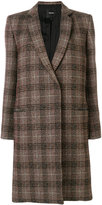 Theory plaid single button coat