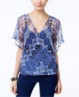INC International Concepts Flutter-Sleeve Printed Top, Created for Macy's