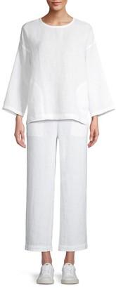 Eileen Fisher Roundneck Organic Linen Top