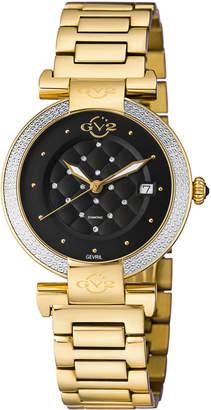 Gv2 37mm Berletta Quilted Diamond Bracelet Watch, Yellow/Black