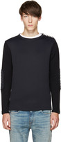 Balmain Navy Biker Patch Pullover