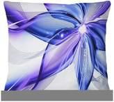 """Design Art Usa Fractal Bright Blue Flower Floral Throw Pillow, 16""""x16"""""""